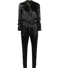 rick owens textured style front zip jumpsuit - black