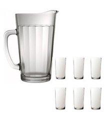 kit 1 jarra de vidro americano 1,2 litros e 6 copos de vidro sture móveis 387ml