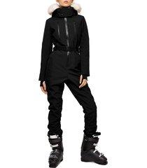 women's topshop sno water repellent jumpsuit with faux fur trim