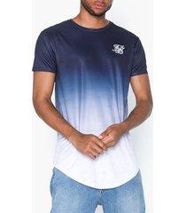 siksilk short sleeve curved hem tee t-shirts & linnen navy/white