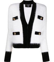 balmain velvet trim cropped cardigan - white
