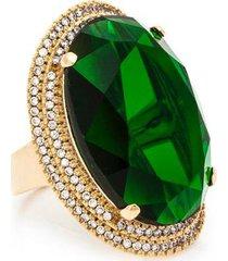 anel kumbayá oval banho de ouro 18k cristal verde cravação de zirconias feminino