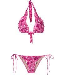 adriana degreas floral-print ruffle-trim bikini set - pink
