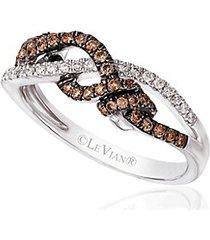 14k vanilla gold vanilla diamonds & chocolate diamonds chocolatier gladiator weave ring