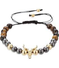 eye candy la men's tiger's eye bead & cubic zirconia bracelet