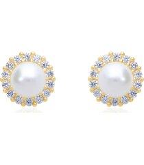 orecchini a lobo in oro giallo con perla 5-5,5 mm e contorno zirconi per donna