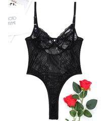 lace see through plunge thong bodysuit