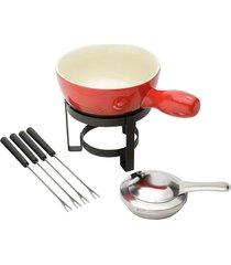 aparelho de fondue 8pçs para queijo cerâmica vermelho lyor