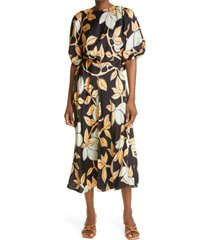 women's stine goya aubrie lemon print puff sleeve dress, size x-small - yellow