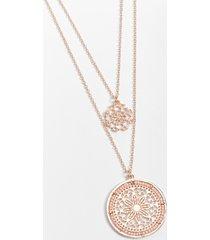 maurices womens rose gold double medallion pendant drape necklace