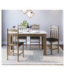conjunto mesa fixa móveis canção com 4 cadeiras fosco