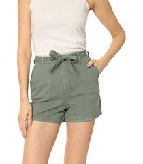short sarja lunender liso verde - verde - feminino - algodã£o - dafiti