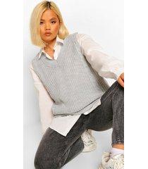 petite lang gebreid hemdje met v-hals, grey marl