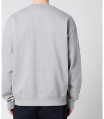 kenzo men's multicolour logo classic sweatshirt - pearl grey - xxl