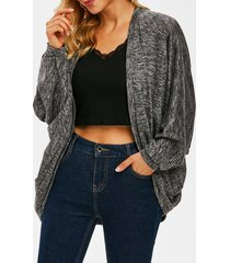 open front heathered batwing sleeve cardigan