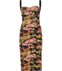floral tulle ruched fitted dress