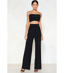 womens tie me later bandeau top and wide-leg pants set - black