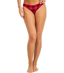 charter club plaid cotton thong underwear, created for macy's