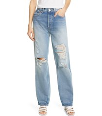 women's re/done '90s ripped high waist loose straight leg jeans, size 31 - blue