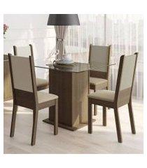 conjunto sala de jantar isis madesa mesa tampo de vidro com 4 cadeiras rustic/crema/pérola