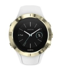 suunto spartan trainer wrist hr, gold/white silicone band, a goldtone bezel with a digital dial