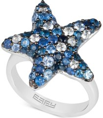 effy sapphire starfish ring (3 ct. t.w.) in sterling silver