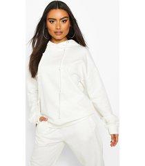 fleece back knot detail drawstring oversized hoodie, ivory