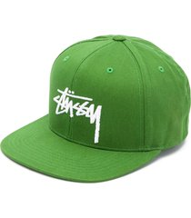 stussy logo embroidered snapback hat - green