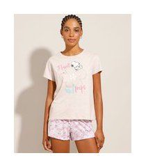 pijama snoopy com estampa floral manga curta rosa