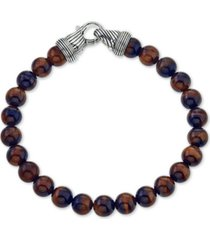 esquire men's jewelry red tiger's eye (8mm) beaded bracelet in sterling silver, created for macy's