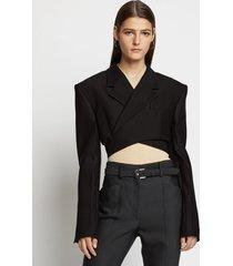 proenza schouler slub suiting short wrap blazer 00200 black 8