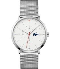 lacoste men's moon stainless steel mesh bracelet watch 40mm