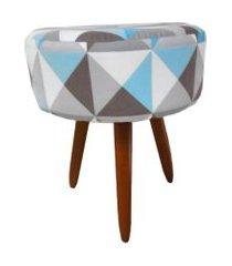 puff banqueta redonda suede triângulo azul - ds móveis