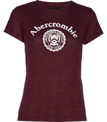 cozy logo tee t-shirts & tops short-sleeved röd abercrombie & fitch