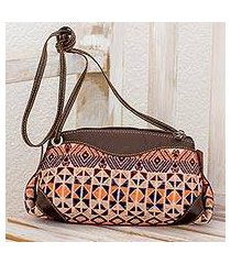 leather accent cotton sling handbag, 'geometric imagination' (guatemala)
