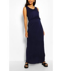 maternity scoop neck shirred maxi dress, navy