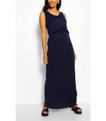 zwangerschap geplooide maxi jurk met ronde hals, marineblauw