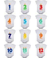 kit body mesversario números vela 12 bodies de bebê mês aniversário branco calupa