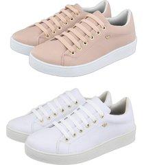 kit 2 tãªnis feminino retta  oficial sapatenis branco e rosa - branco/rosa/ros㪠- feminino - couro sintã©tico - dafiti