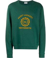 saint laurent varsity logo sweatshirt - green