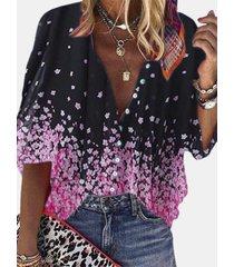 camicetta casual da donna a mezza manica con bottoni con stampa calico