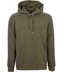 balmain mix mesh hoodie