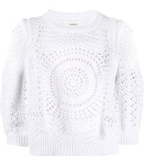 ba & sh confetti open-knit top - white