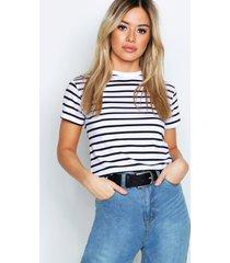 petite stripe raw hem cropped t-shirt, white