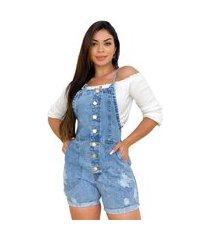 macaquinho jeans curto jardineira retrô - ewf jeans
