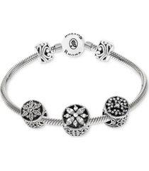 rhona sutton cubic zirconia stone charm bracelet gift set in sterling silver