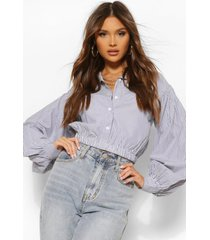 gestreepte blouse met schuine geplooide strip, navy