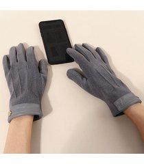 button slip on solid gloves