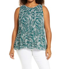 plus size women's halogen sleeveless pleated top, size 1x - green