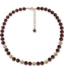 """charter club gold-tone pave fireball & imitation pearl collar necklace, 17"""" + 2"""" extender, created for macy's"""